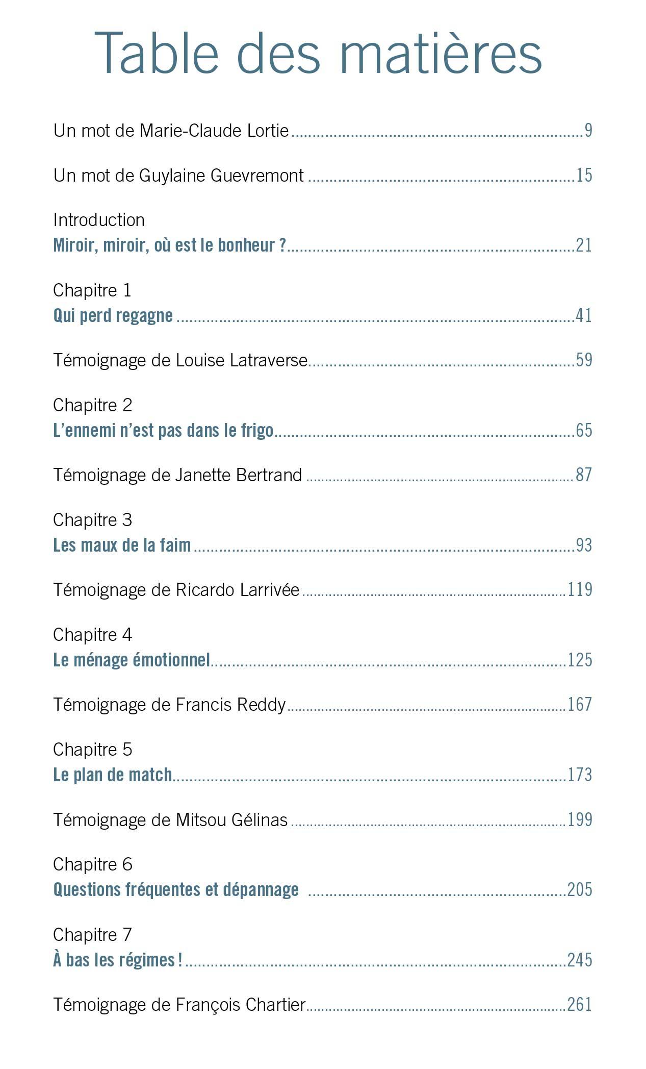 Livre Kilos Zen - Table des matières
