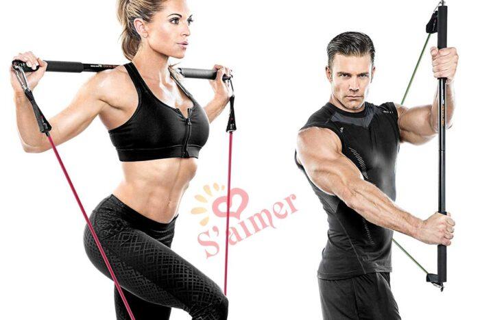 Bionic Body Barre d'entraînement pour haltérophilie, musculation, gym à domicile et exercices cardio