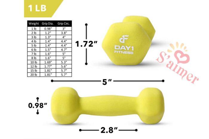 Paire d'haltères en néoprène de Day 1 Fitness - 12 options de poids, 0,5 - 9 kg - Antidérapant, forme hexagonale