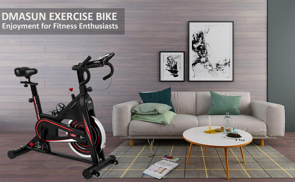 vélo stationnaire, coussin de siège confortable, poignées multiples